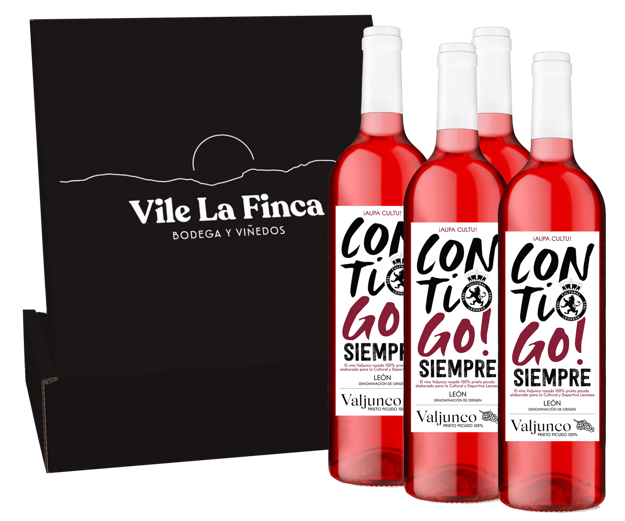 Valjunco Rosado Edición Limitada CONTIGO! Cultural y Deportiva Leonesa. Estuche 4 botellas.